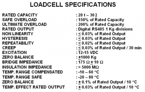 WB loadcell specs